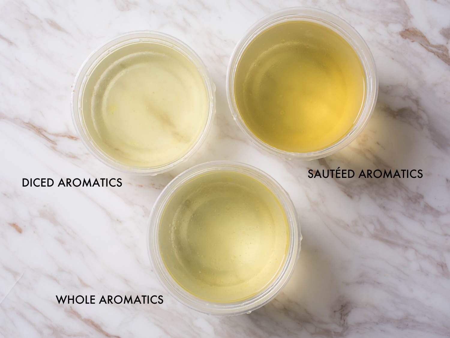 Labeled photo comparing stocks made with aromatics.