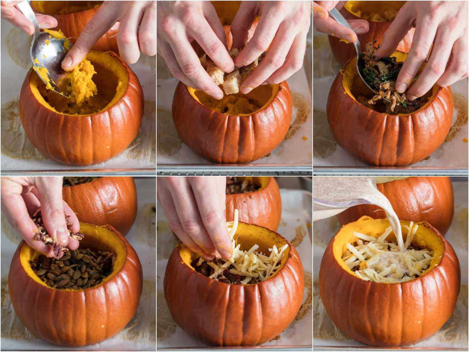 Collage of photos showing the sequence of stuffing pumpkins.