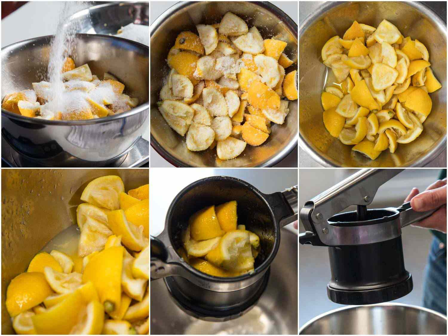 Collage of process of macerating lemon rinds with salt to extract liquid