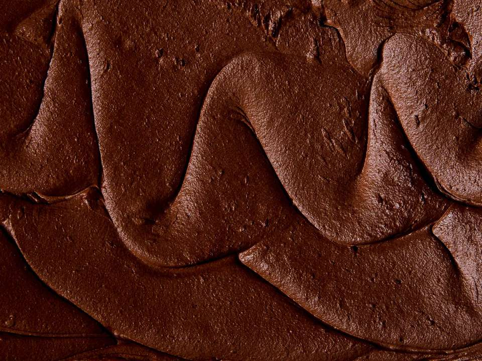 Swirls of double chocolate frosting.