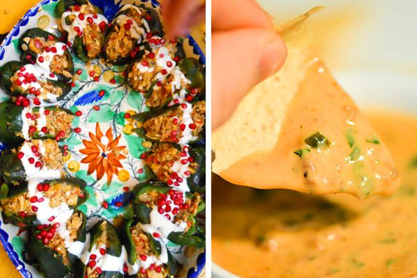 A platter of chiles en nogada on the left, and a chip dipped in a bowl of queso dip on the right.