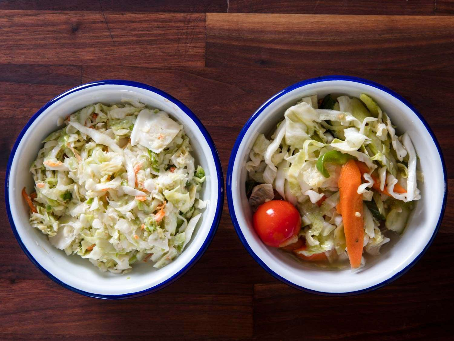 Coleslaw and health salad from Jewish deli in two bowls