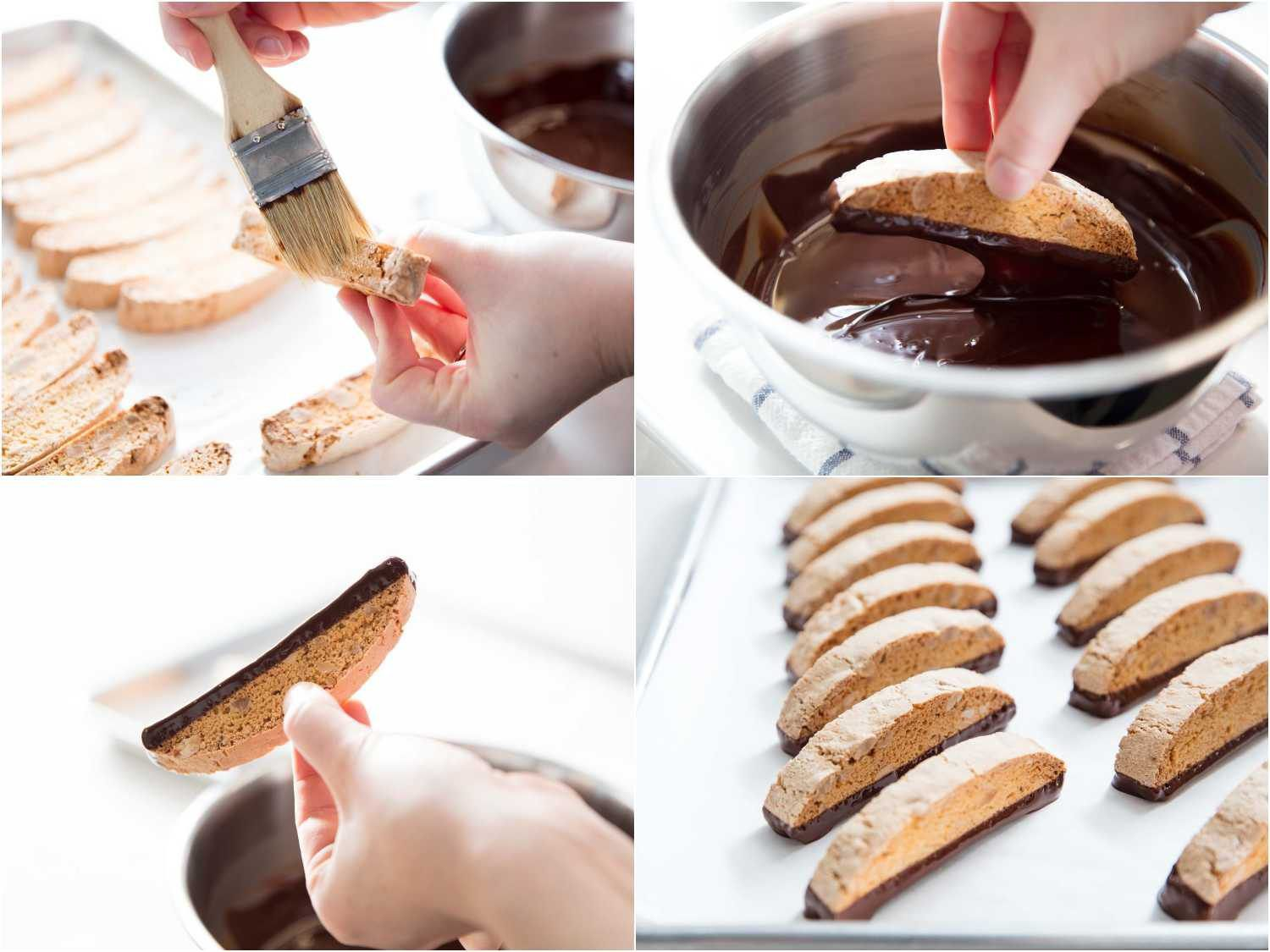removing crumbs and dipping biscotti in tempered chocolate