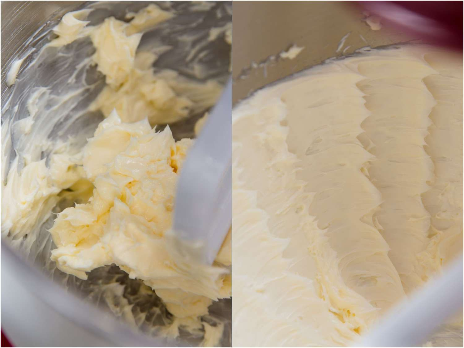 dense and dark butter at the start, creamy light and fluffy butter after creaming