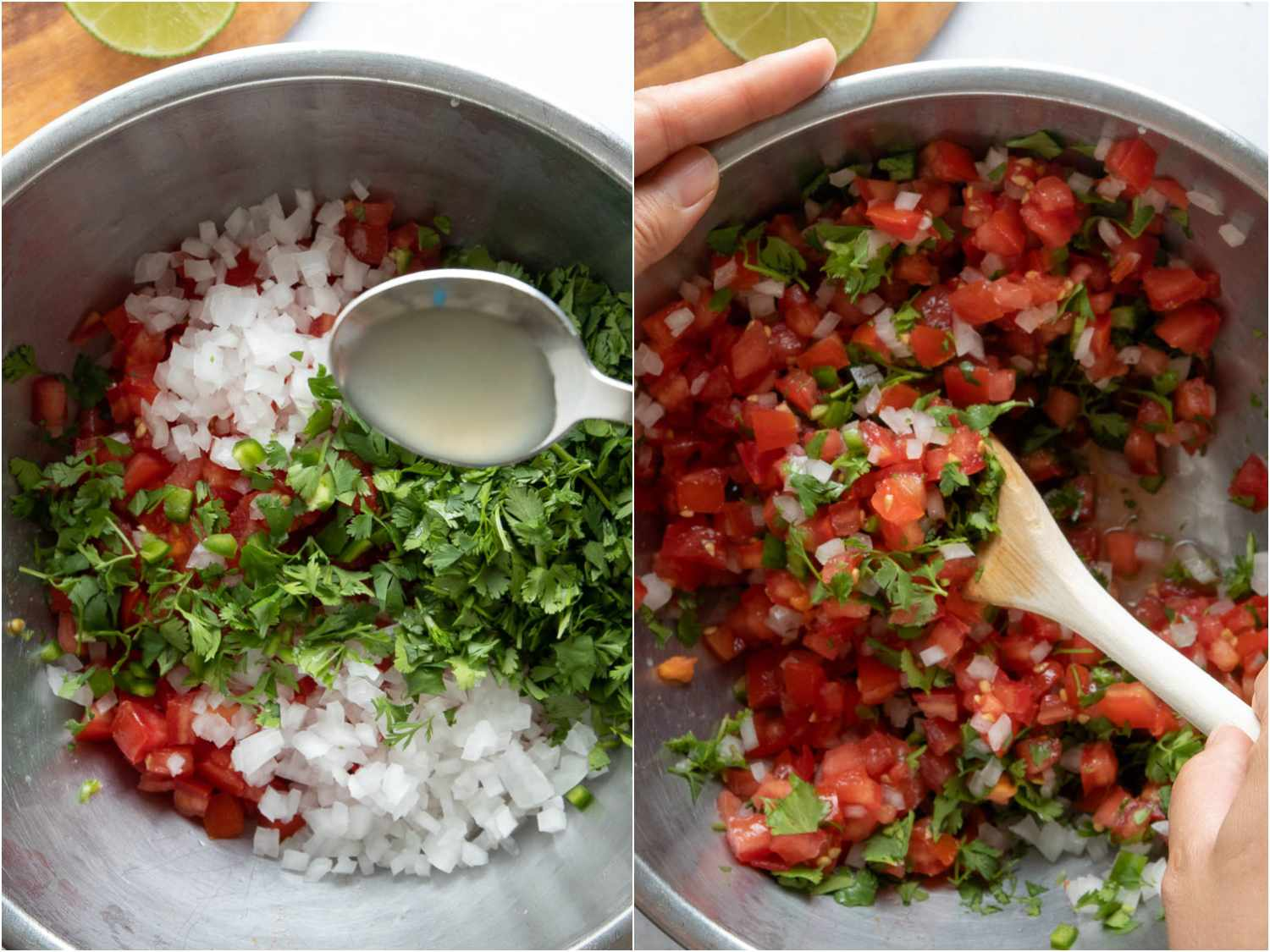 collage: combining tomatoes with cilantro, chiles, onions, and lime juice