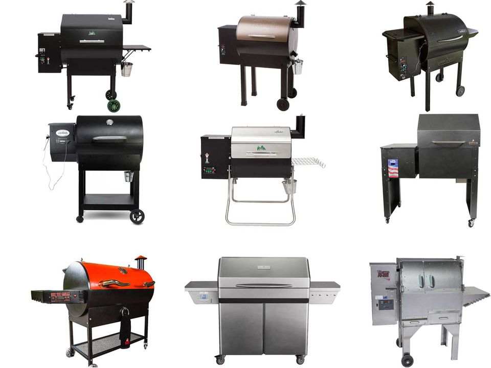 Collage of photos of various pellet smokers
