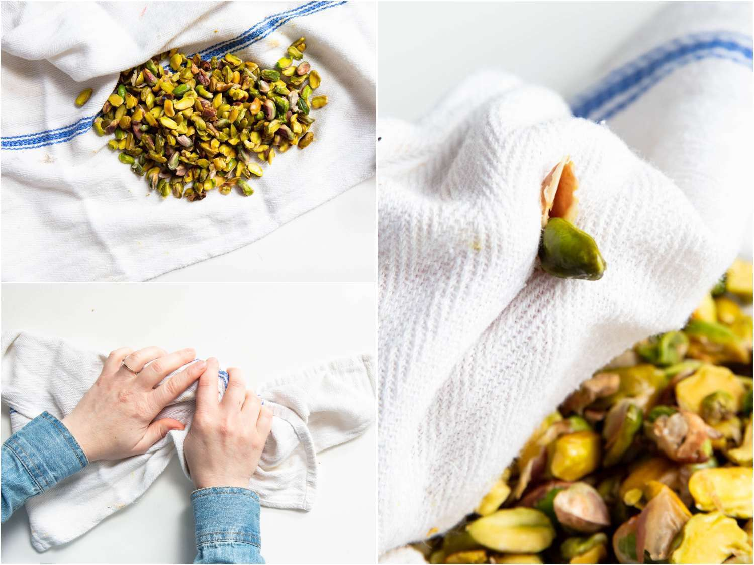 toweling off pistachios to loosen the skin
