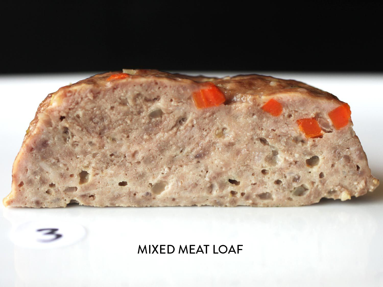 A cross-section meatloaf made with mixed meat