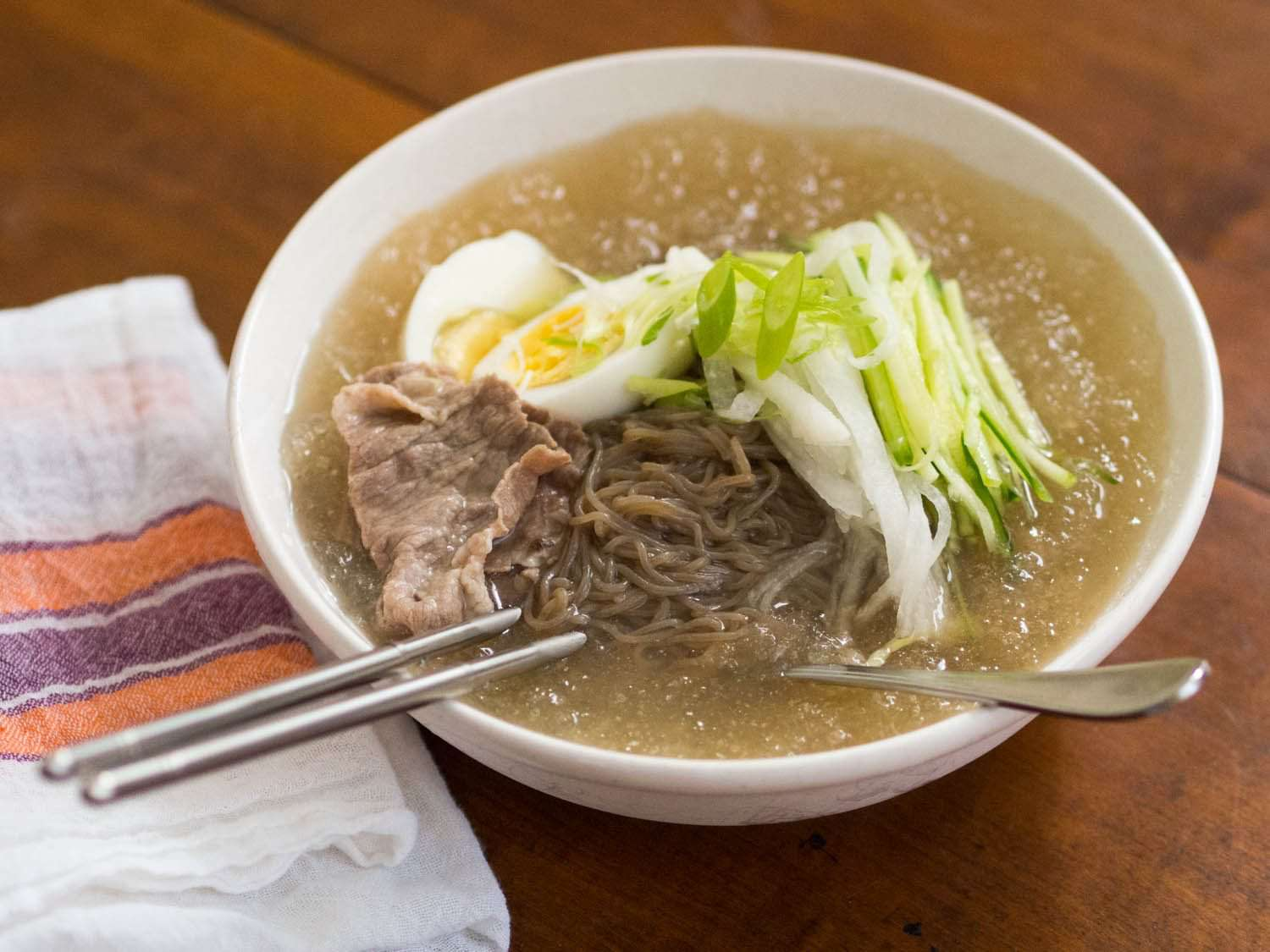 Side view of Mul Naengmyun, or cold korean noodle soup