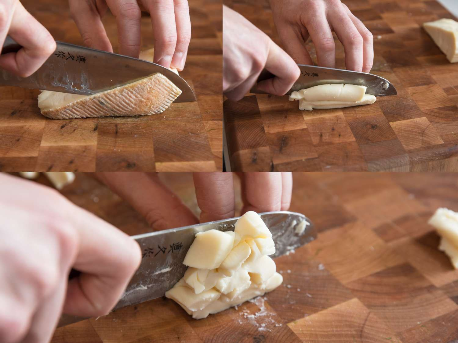 Cutting Taleggio into pieces for the cheese sauce.