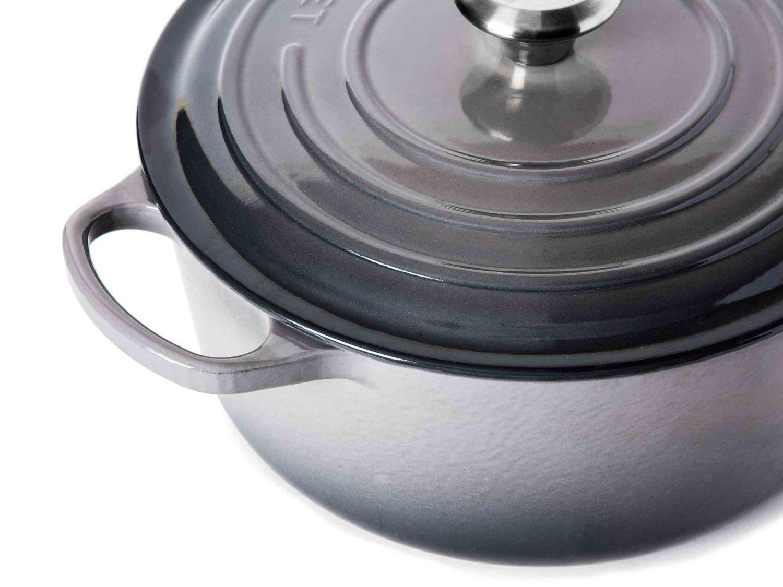 Closeup of grey Le Creuset Dutch oven