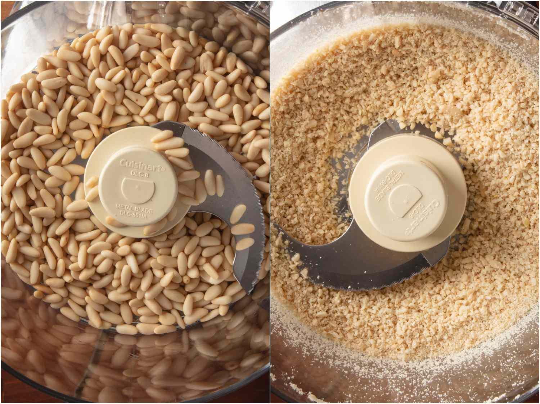 Grinding pine nuts
