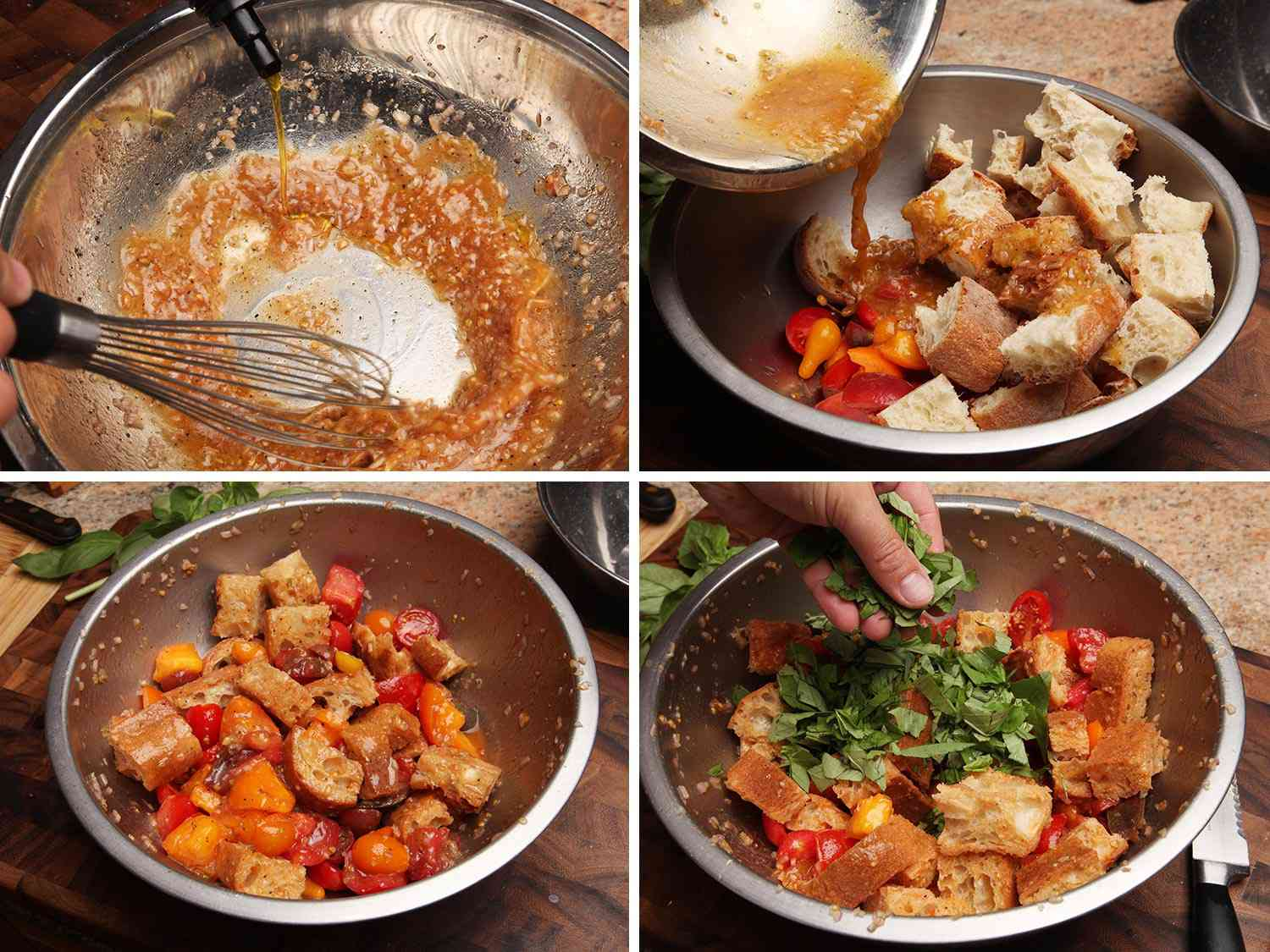Collage of photos of making panzanella salad: whisking olive oil and tomato juice in a large bowl to make a vinaigrette, pouring vinaigrette over tomatoes and bread, tomatoes and bread soaked in vinaigrette, adding chopped basil leaves to salad