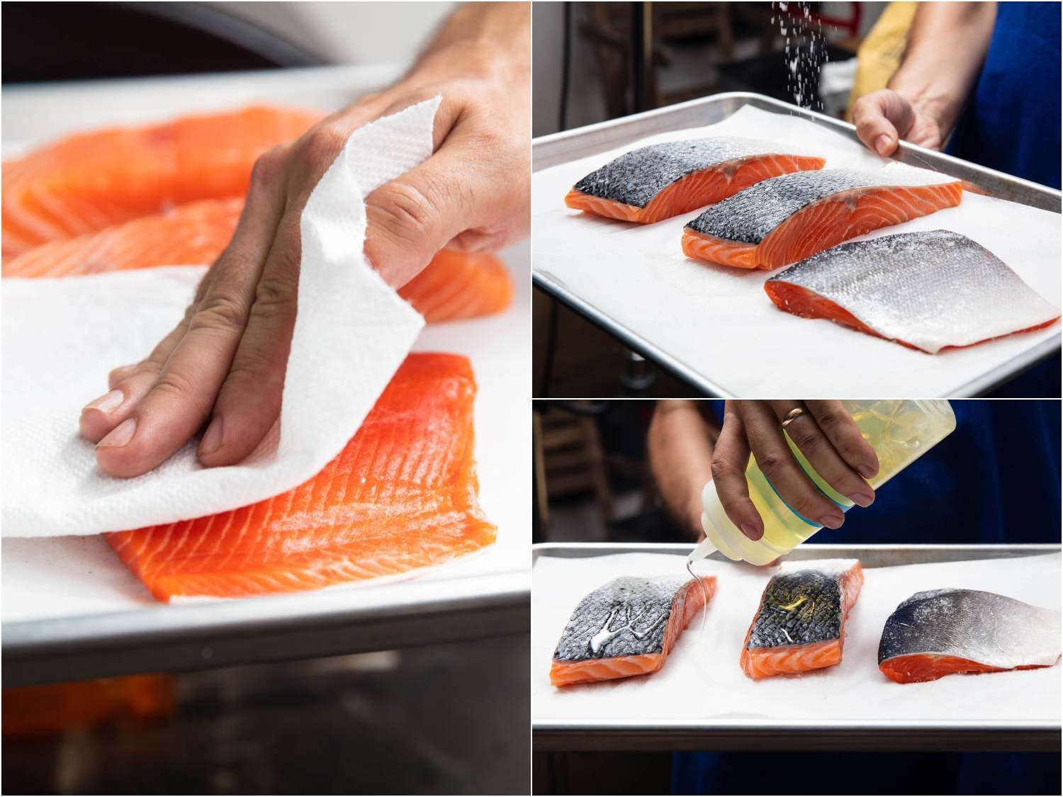 Drying salmon fillets and oiling them before grilling helps prevent them from sticking to the grill