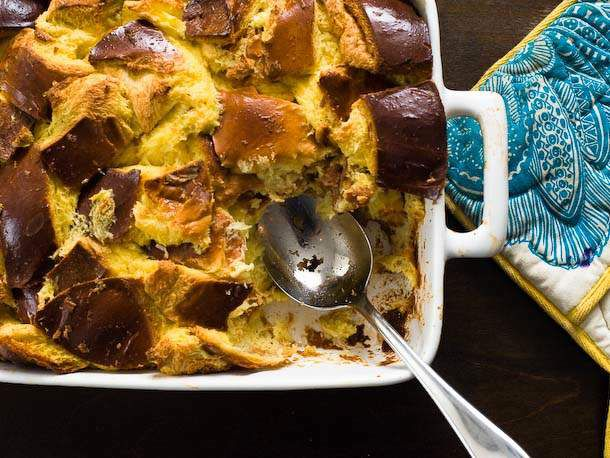 serving bread pudding out of baking dish