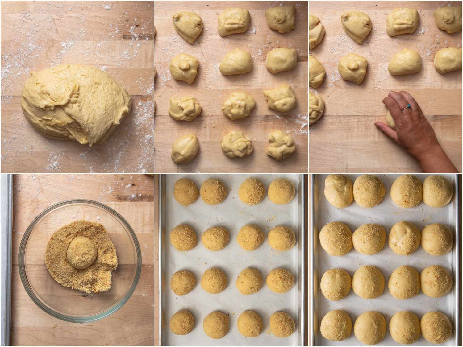 collage: pandesal dough on a floured work surface; dough divided into 16 portions; a hand cupping and rolling dough into a smooth ball; a ball being coated in breadcrumb mixture; a tray of pandesal before resting; a tray of pandesal after resting and doubling in size