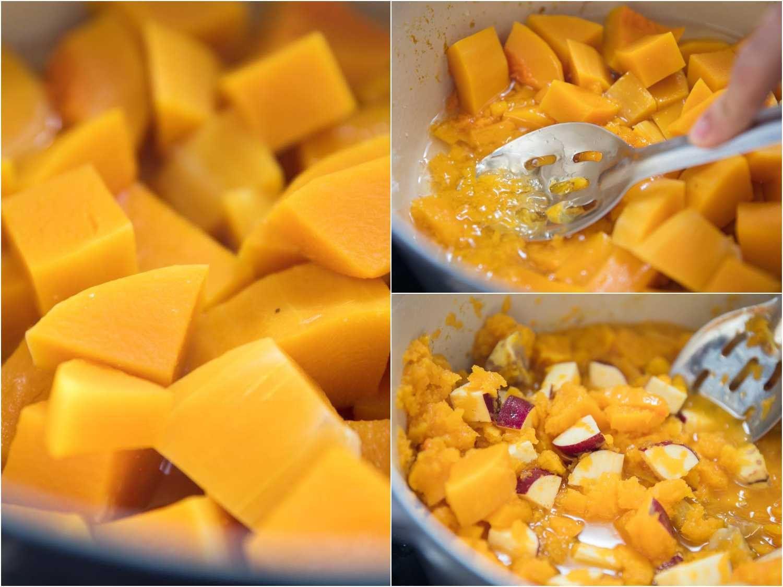 Cooking squash for Hobak beombeok (korean pumpkin porridge), then mashing it and adding sweet potato chunks to the pot