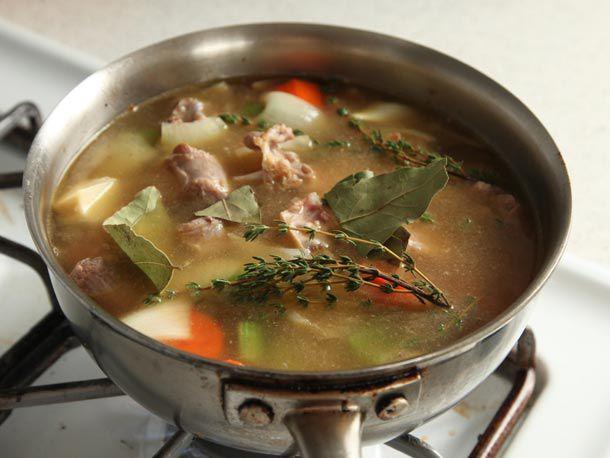 Gravy ingredients in a pot
