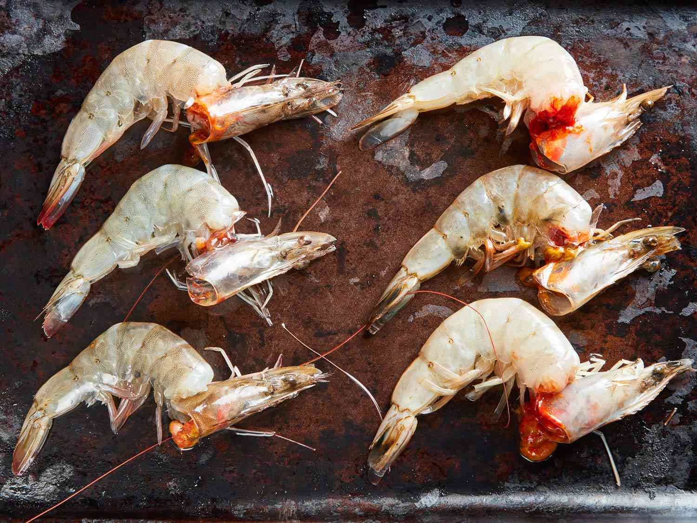 Frozen, then defrosted imported shrimp (left) and Eco Shrimp Garden shrimp (right)