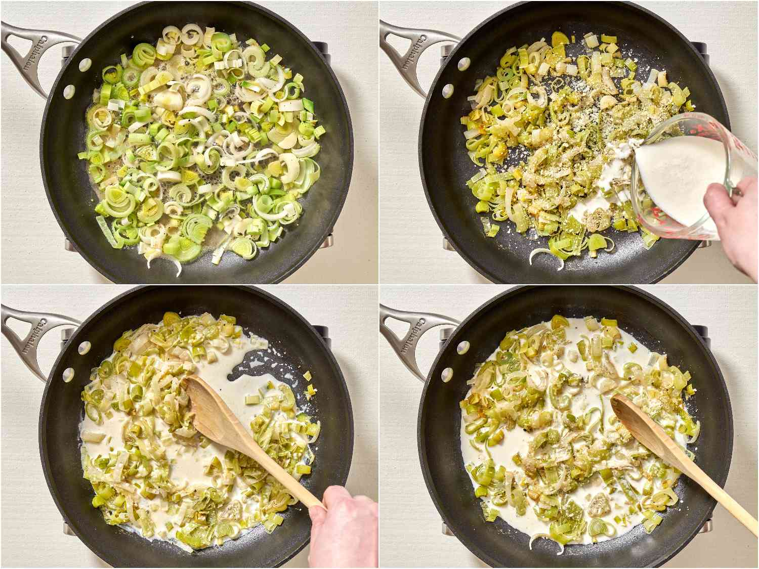 collage of process of making creamed leeks