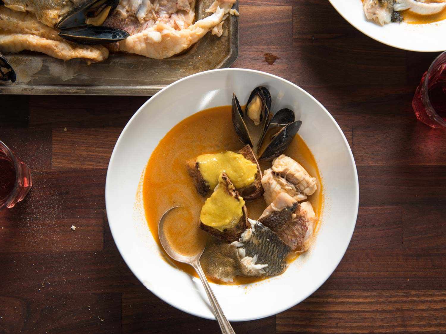 A bowl of bouillabaisse, a French seafood soup.
