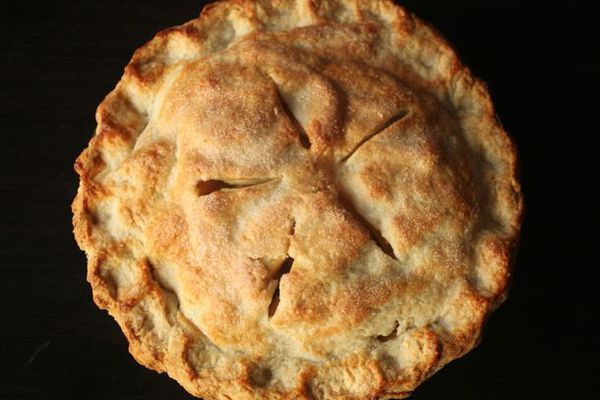 A whole baked, two-crust pie.