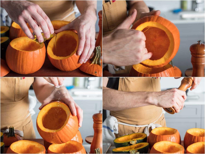Seasoning and oiling sugar pumpkins and squash for roasting