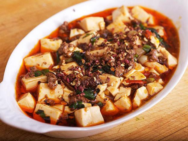 A dish of mapo tofu with ramps.