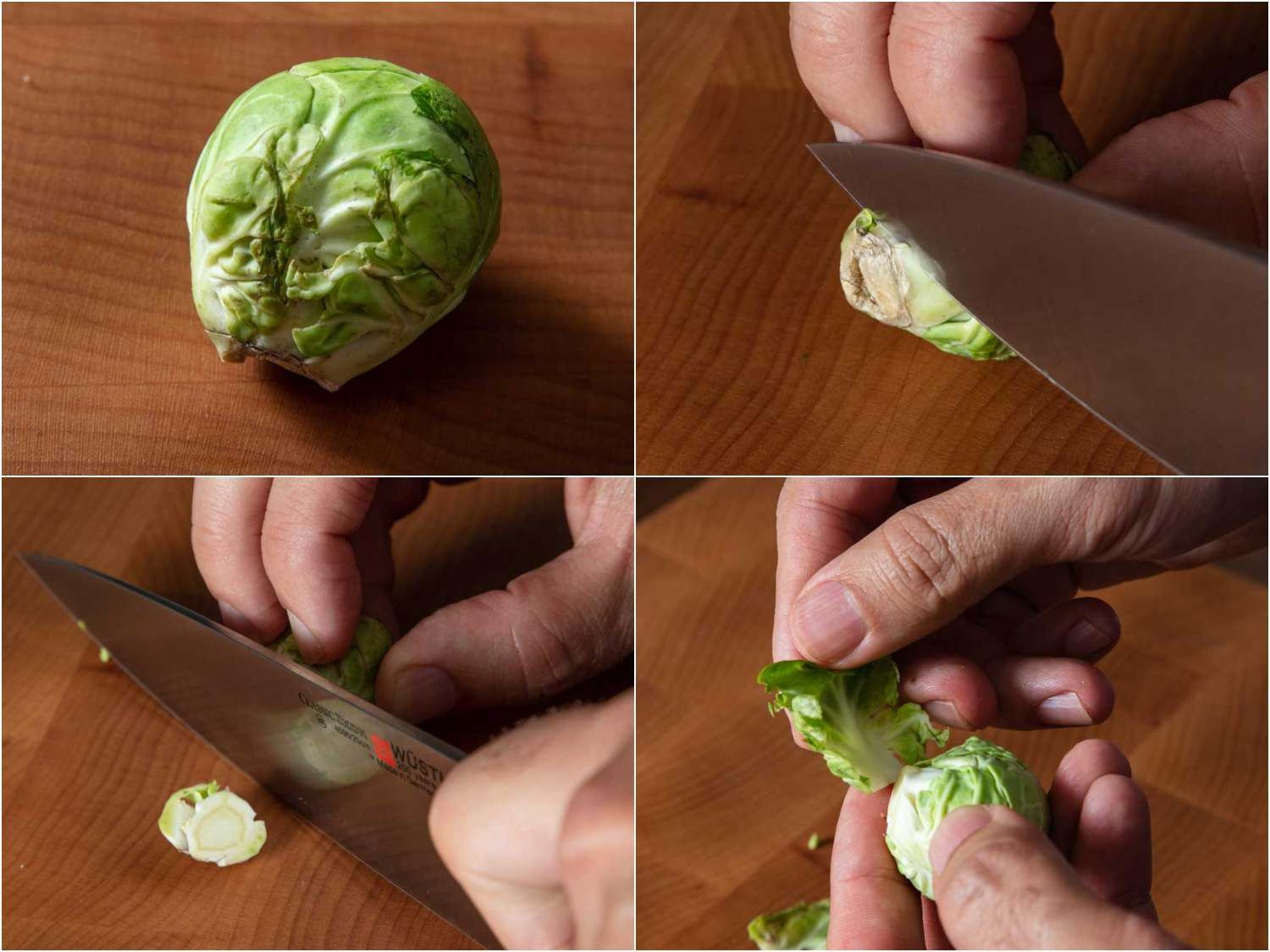 A collage showing how to remove the outer (often damaged) leaves of a Brussels sprout: trim off the base with a knife; this should help disconnect those outer leaves where they attach to the core. The leaves can then be pulled off. If you need to remove more, simply cut a bit more of the base off to detach more leaves and repeat.