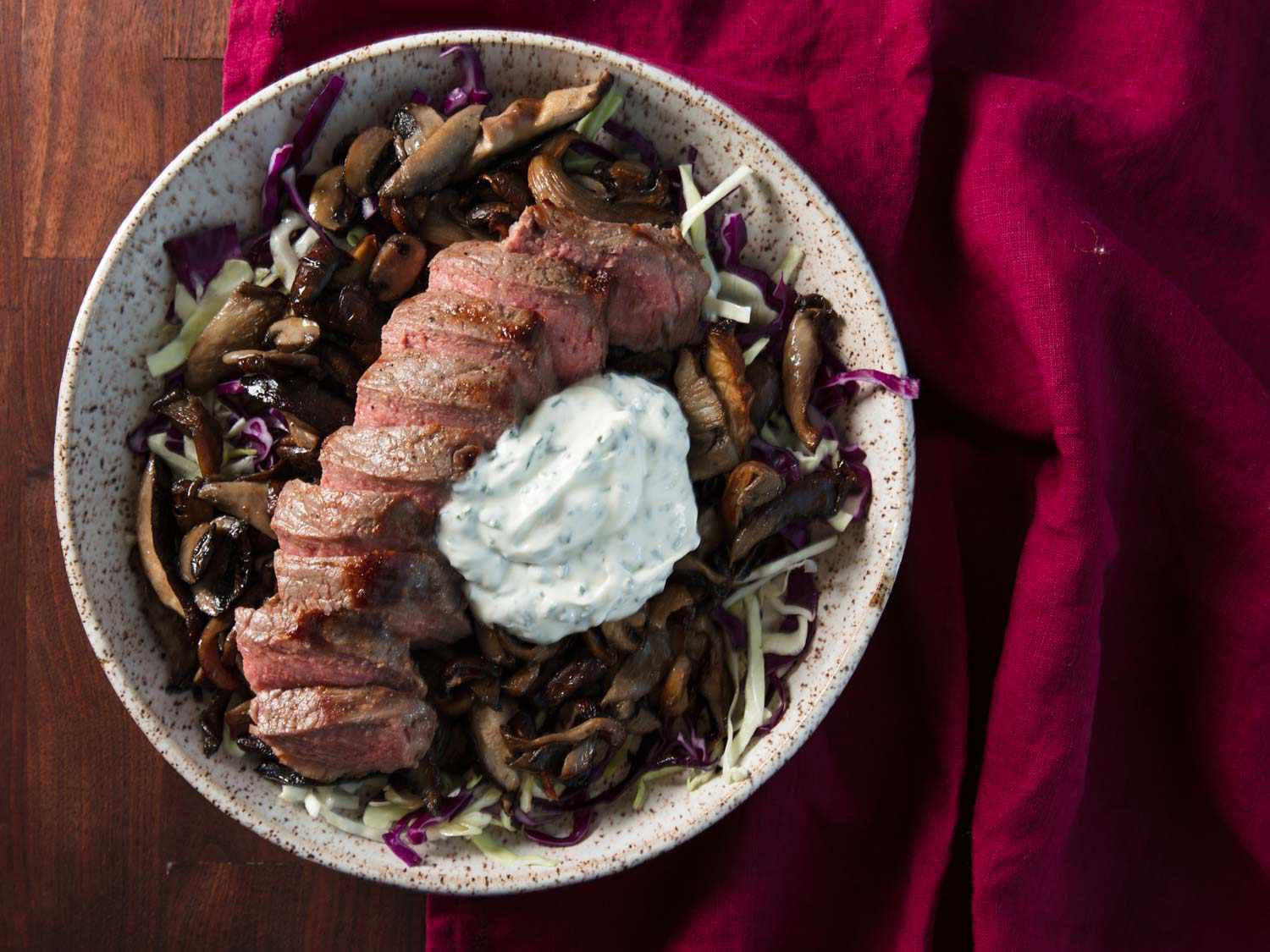 20180726-MHT-broiling-strip-steak-mushrooms-sour-cream-chives-finished-overhead-vicky-wasik-6-