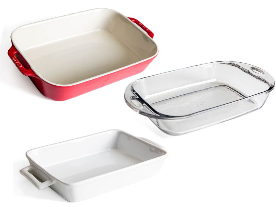 Three different baking dishes against all-white background.