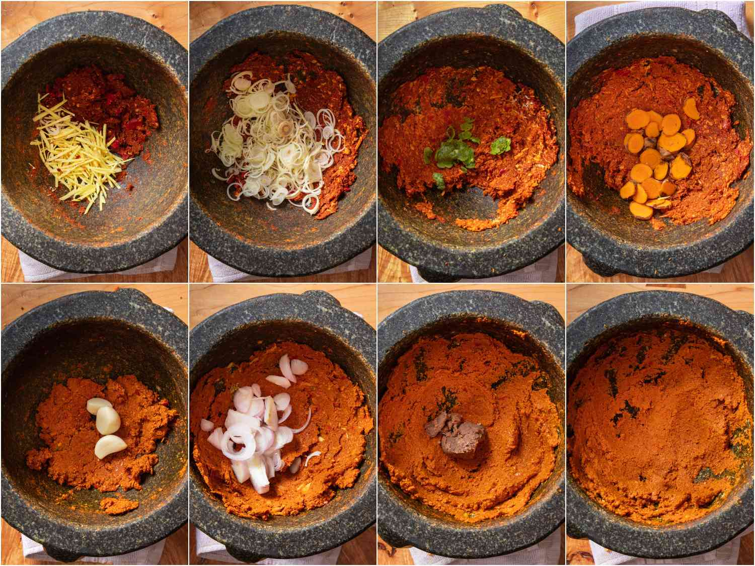 collage: progression of pounding Prik Gaeng Pak Dtai (Southern Thai Curry Paste) in a mortar and pestle