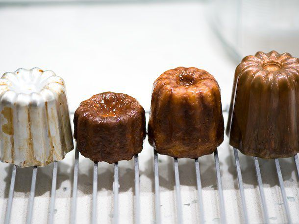 canelé baked in an aluminum and copper mold