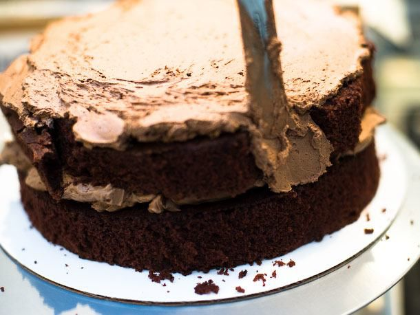 patch cake together with frosting