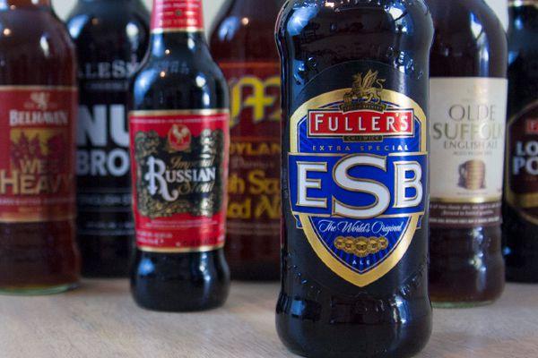 Bottles of assorted British beers.