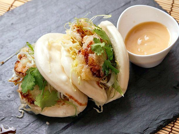 Steamed Buns with Tempura King Oyster Mushrooms