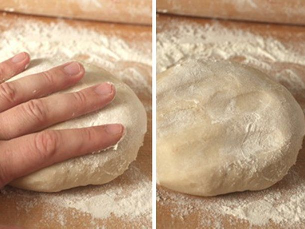 Two images side by side of a round of dough, the first with a hand pressing it, the second with the resulting fingerprints.