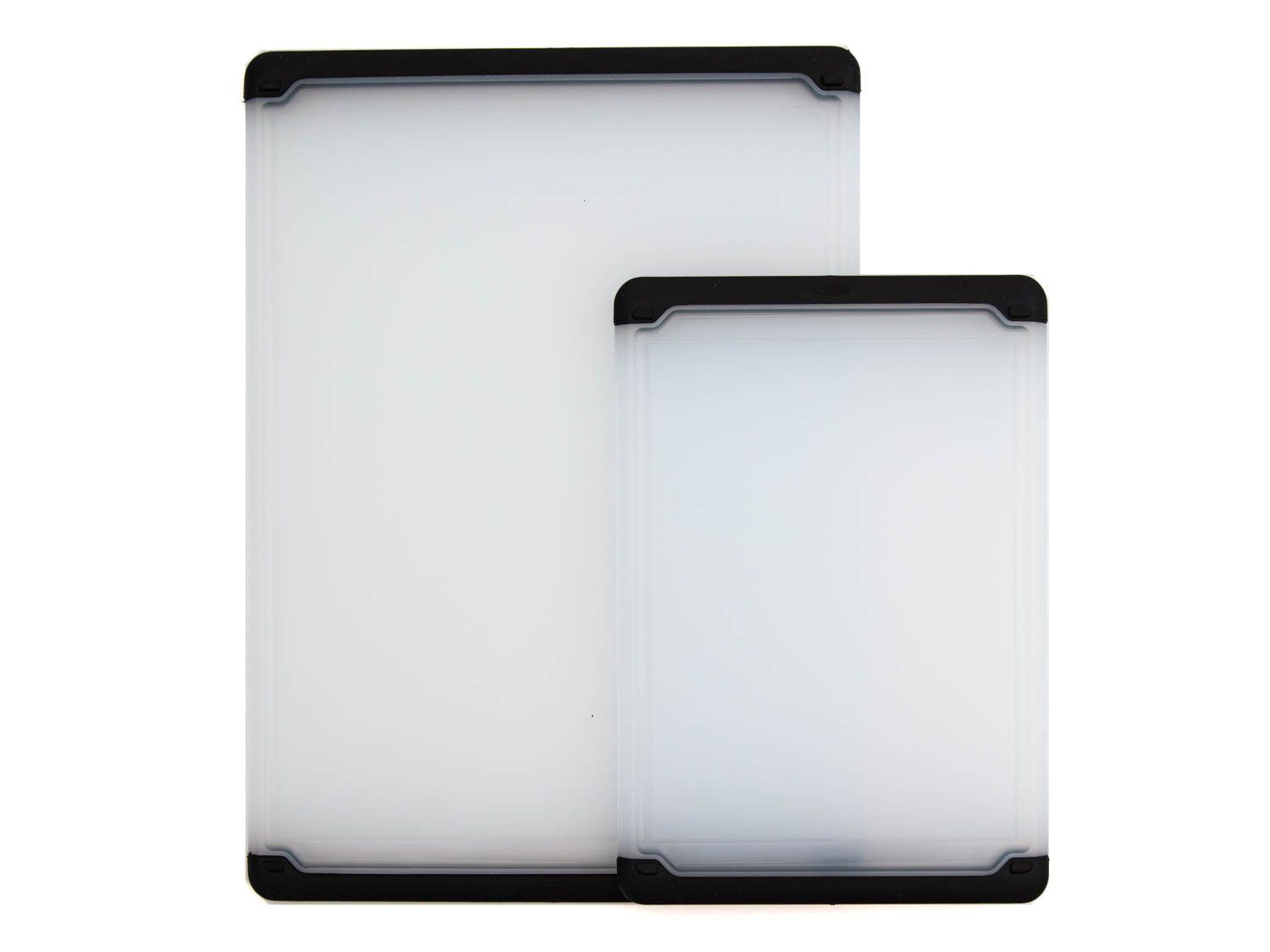 Oxo's plastic cutting board come in three sizes, but only the small and medium (shown here) can be purchased as a pair.