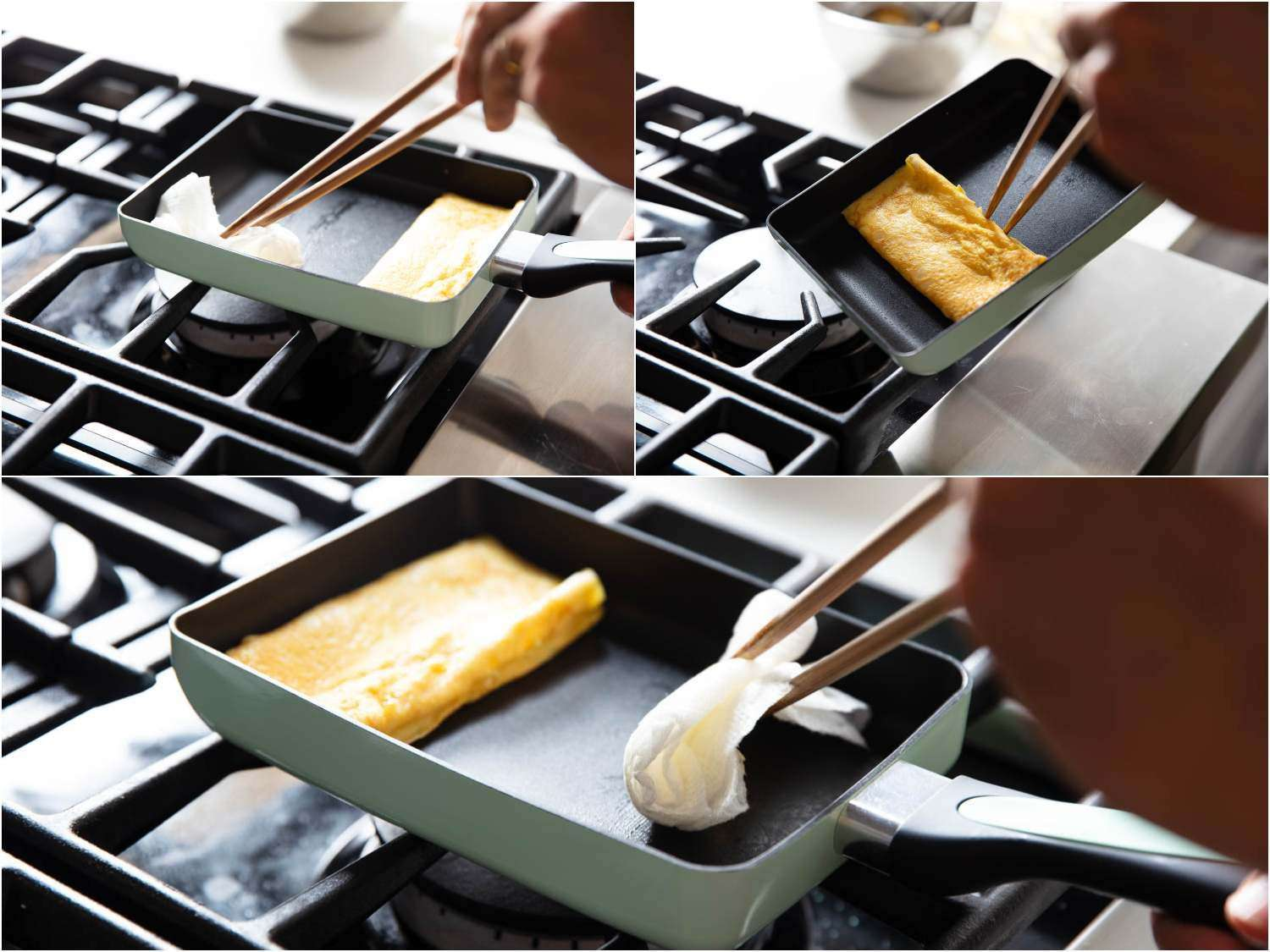 A series of 3 photographs showing how, after rolling the omelette each time toward the handle, the empty area of the pan is lightly greased again, then the omelette roll is slid back to the far side of the pan, and the area near the handle is then greased as well.