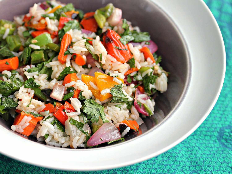 Overhead photo of grain salad seasoned with fish sauce.