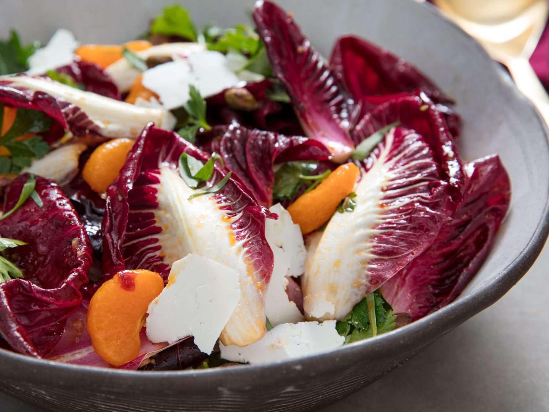 Close-up of finished radicchio salad