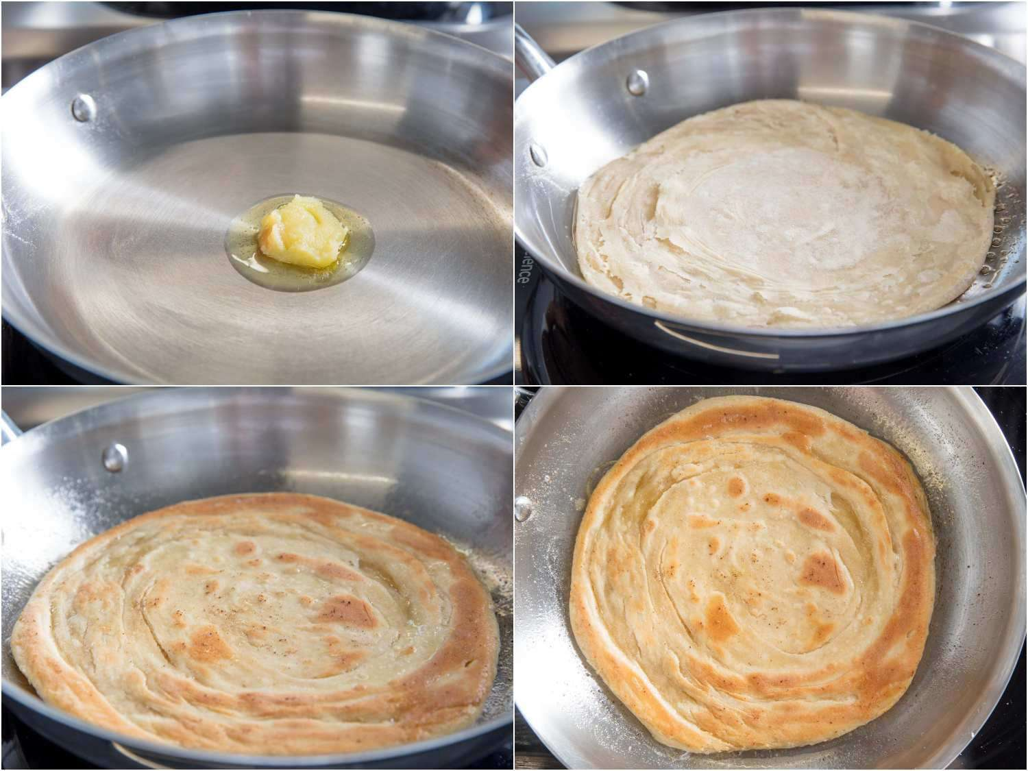 Melting ghee in a skillet and cooking paratha until it's golden brown