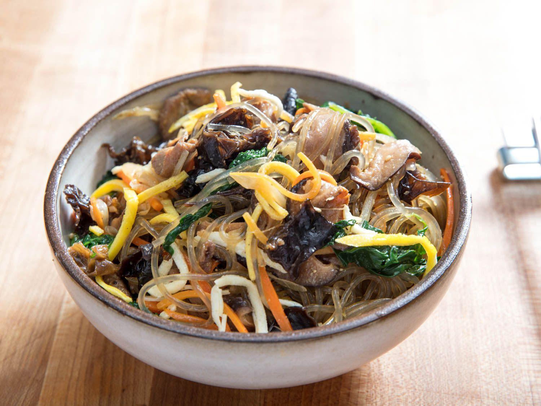 japchae recipe serious eats Japchae (Korean Glass Noodles With Pork and Vegetables) Recipe