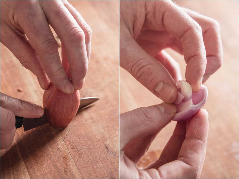 Peeling shallots for mignonette
