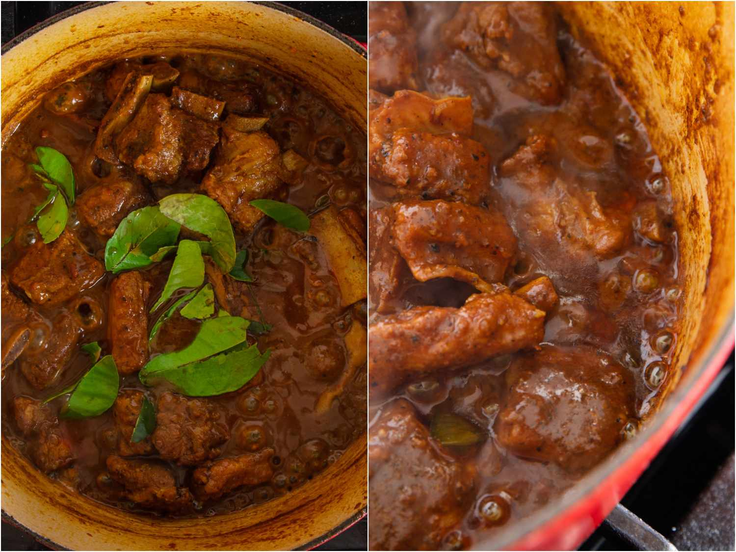 collage: makrut lime leaves added to curry; cooked down, fat beginning to separate