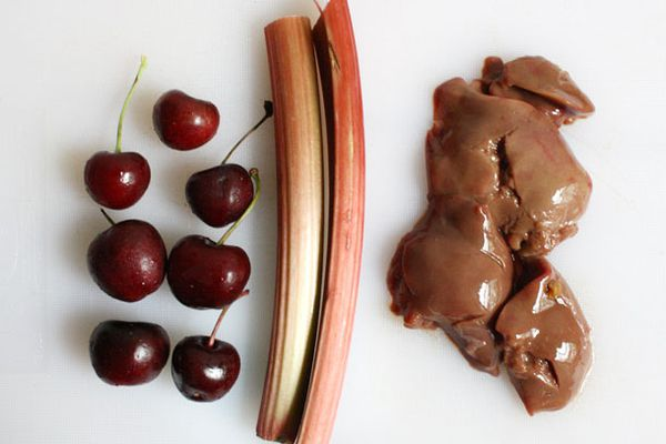 Cherries, rhubarb, and raw duck livers
