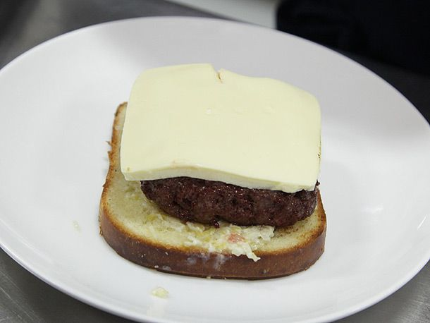 beef patty, cheese, and bread