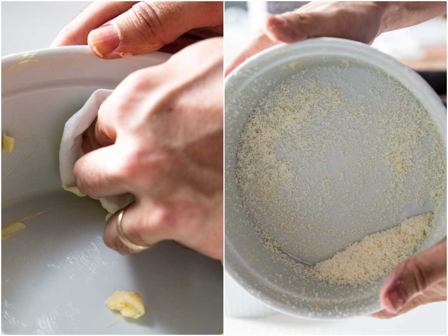 greasing soufflé baking dish and dusting it with grated cheese