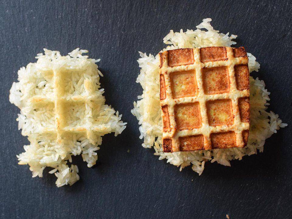 waffle sticky rice and tofu