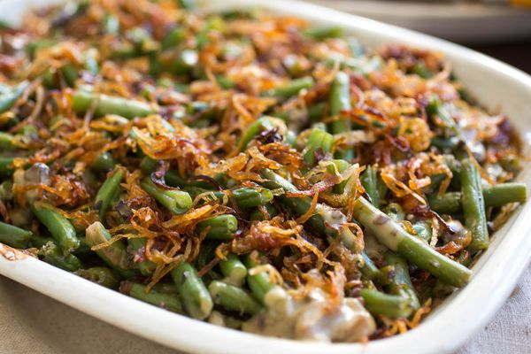 Green bean casserole with crispy fried shallots topping
